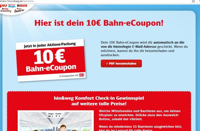 Einlösung Ferrero 10 EUR Bahn Gutschein (Januar 2019)