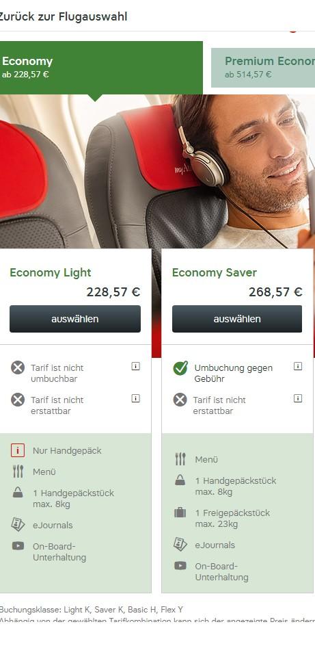 Vergleich Economy Light mit Economy bei Austrian