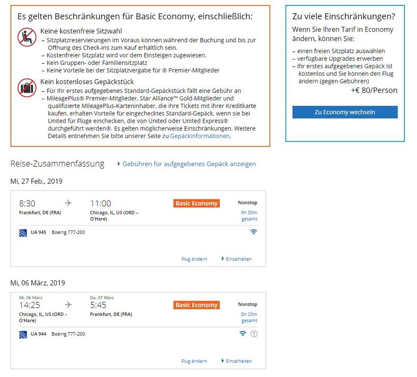 Vergleich Tarif Basic Economy mit Economy