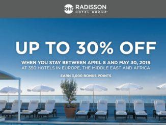 Radisson 30% Ermäßigung und 3000 Radisson Rewards Punkte