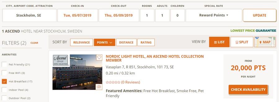 Preisbeispiel Punktebuchung Stockholm