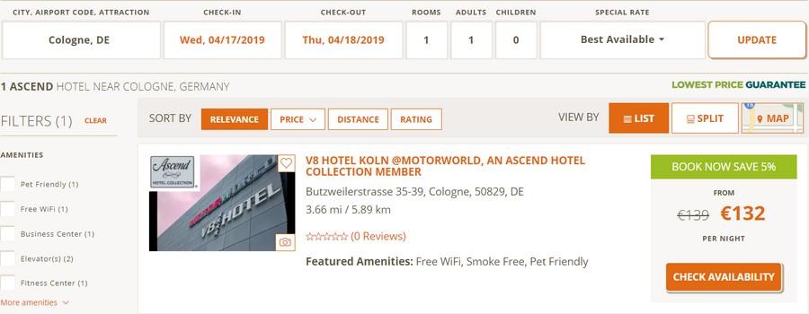 Preisbeispiel normale Buchung Köln