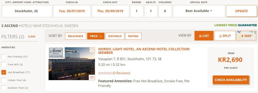 Preisbeispiel normale Buchung Stockholm