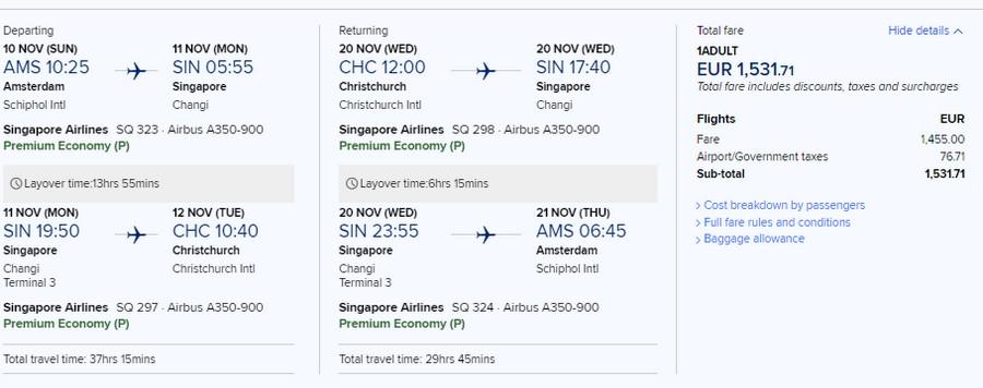 Preisbeispiel von Amsterdam nach Christchurch in der Singapore Airlines Premium-Economy-Class