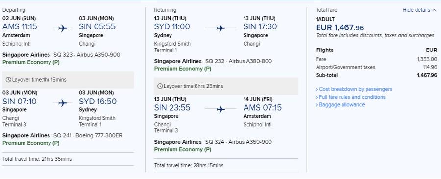 Preisbeispiel von Amsterdam nach Sydney in der Singpore Airlines Premium-Economy-Class