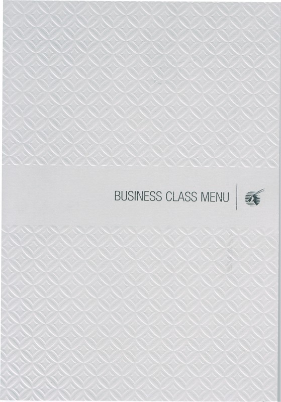 Menu Business-Class an Bord von QR 302 HEL-DOH