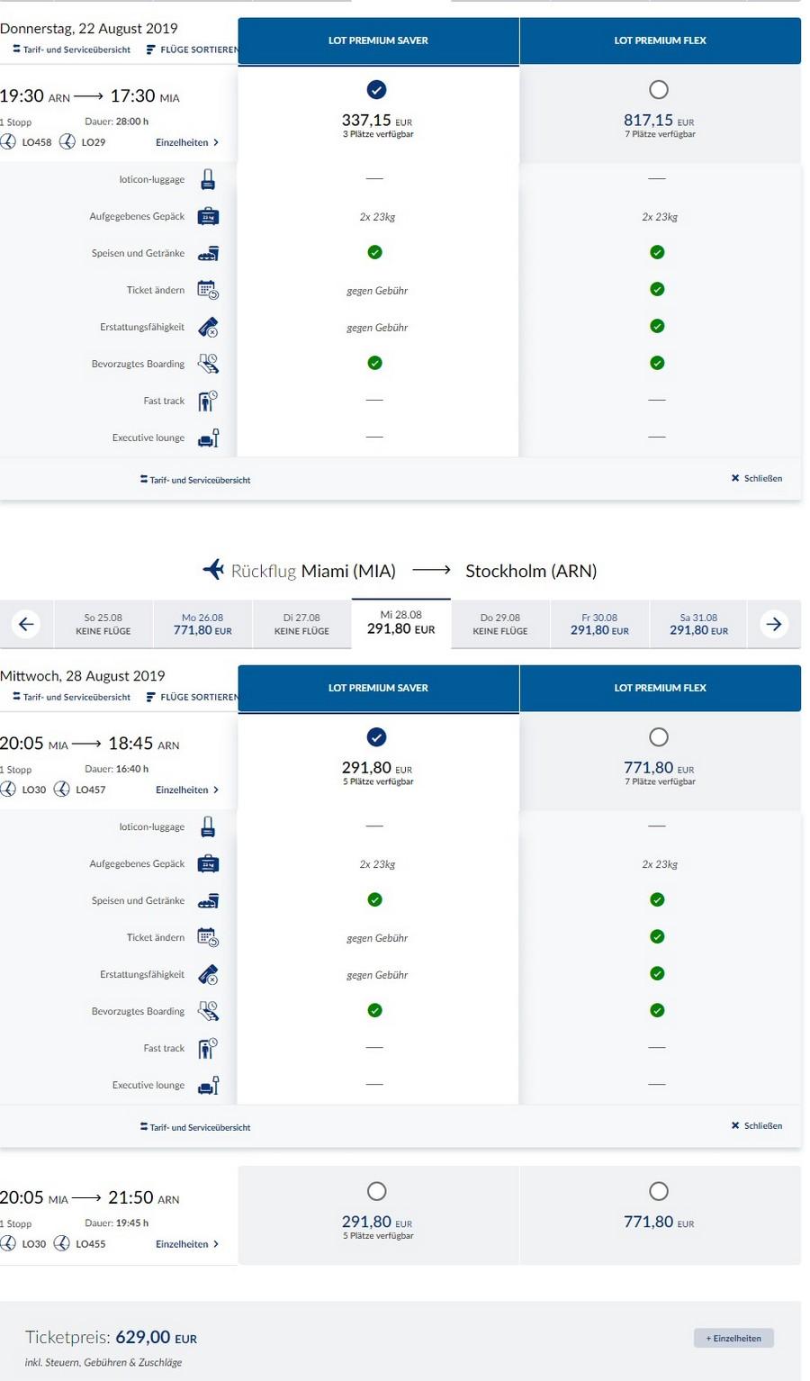 Preisbeispiel von Stockholm nach Miami in der LOT Premium-Economy-Class