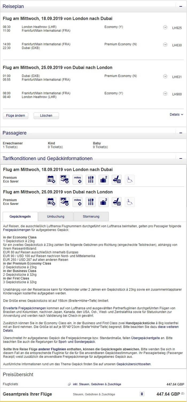 Preisbeispiel von London nach Dubai in der Lufthansa Premium-Economy-Class