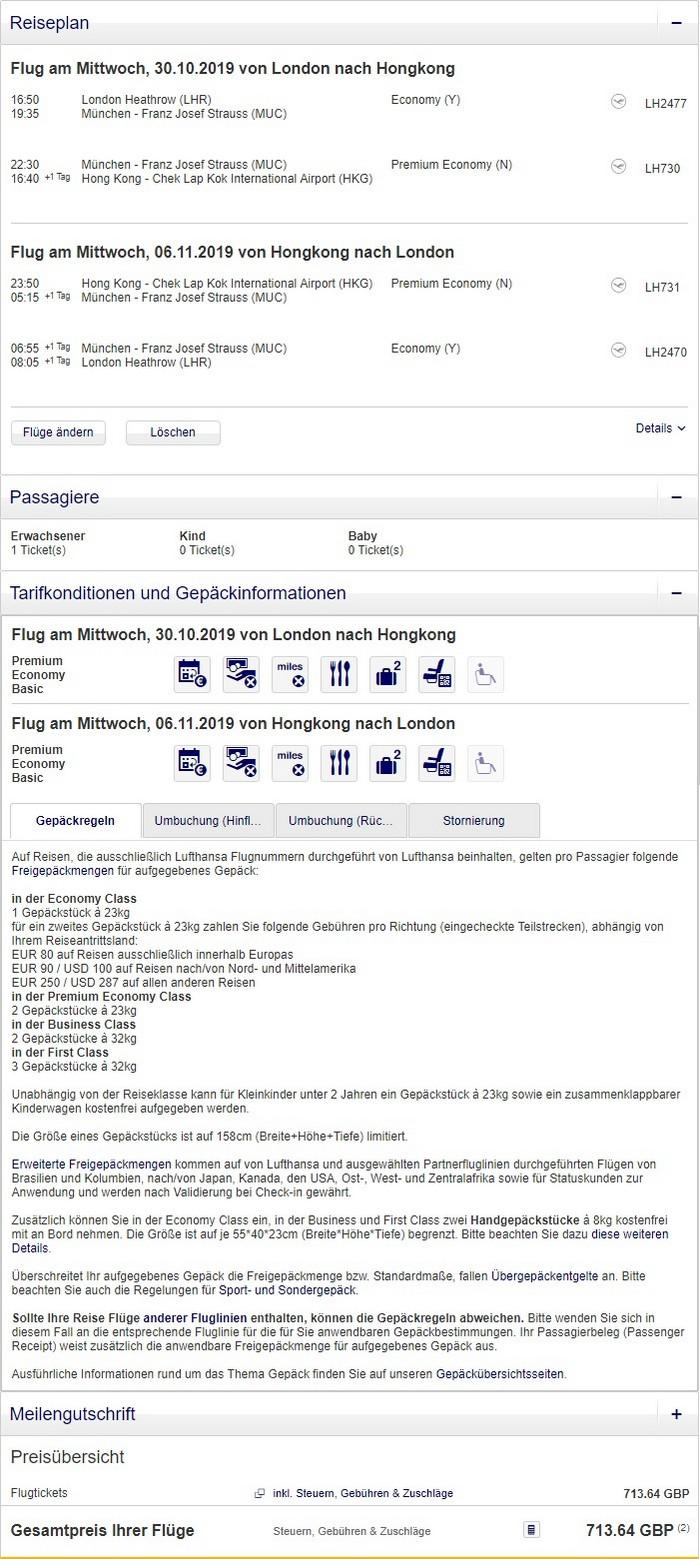 Preisbeispiel von London nach Hong Kong in der Lufthansa Premium-Economy-Class