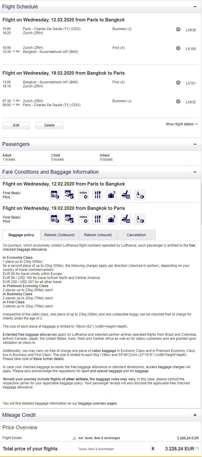 Preisbeispiel von Paris nach Bangkok in der Lufthansa First-Class