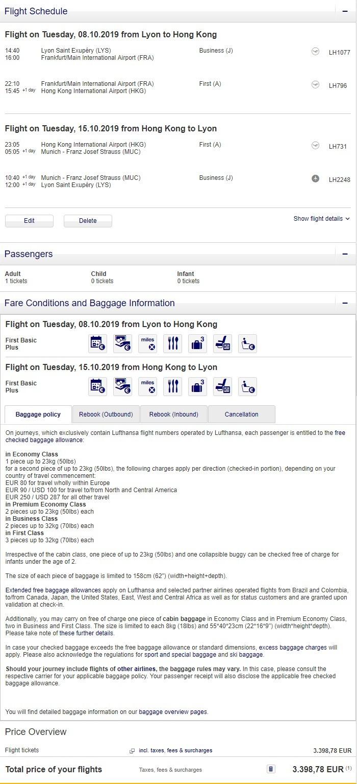 Preisbeispiel von Lyon nach Hong Kong in der Lufthansa First-Class