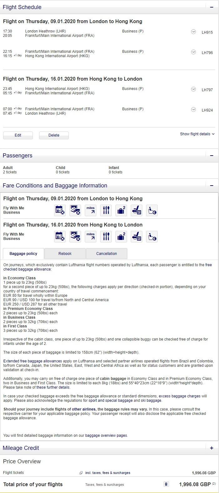 Preisbeispiel Partnerspecial von London nach Hong Kong in der Lufthansa Business-Class