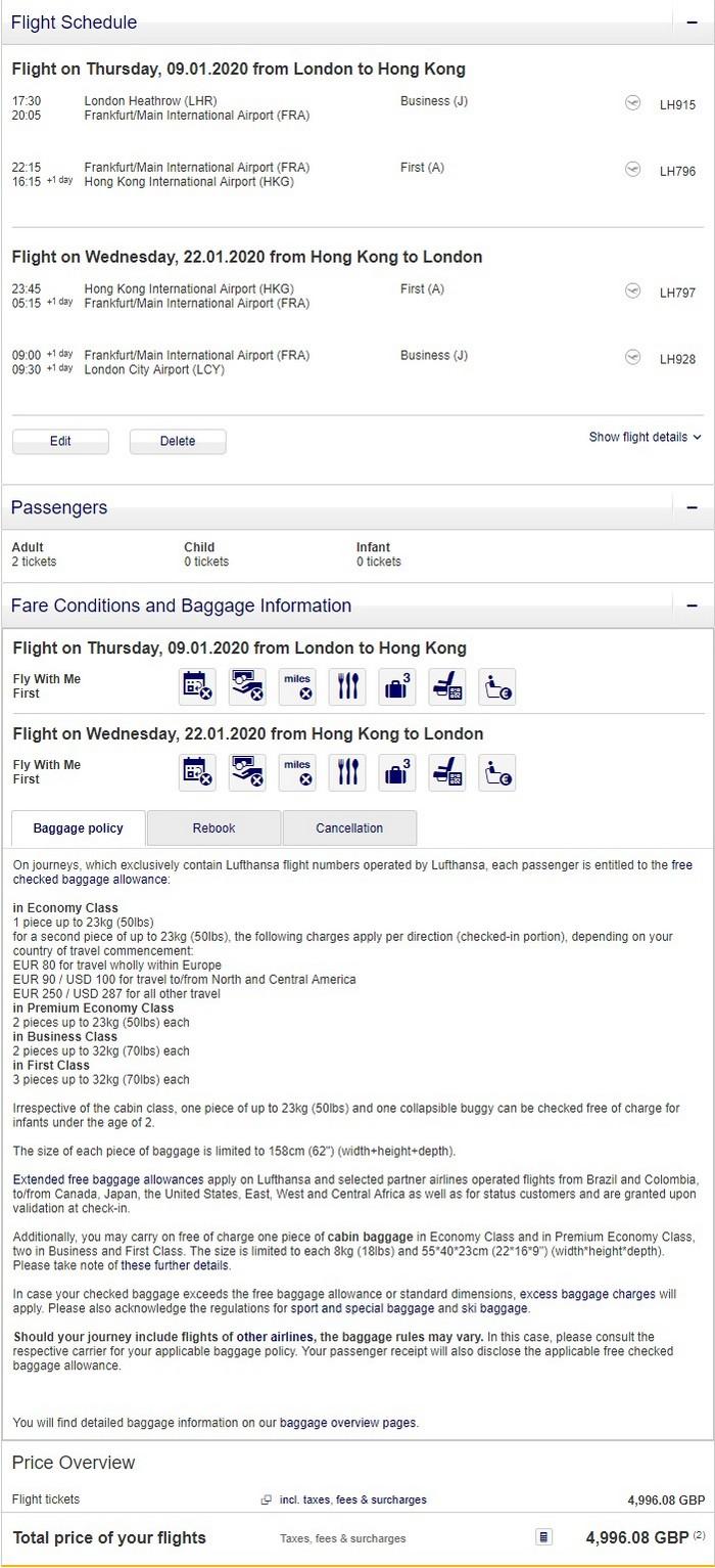 Preisbeispiel Partnerspecial von London nach Hong Kong in der Lufthansa First-Class