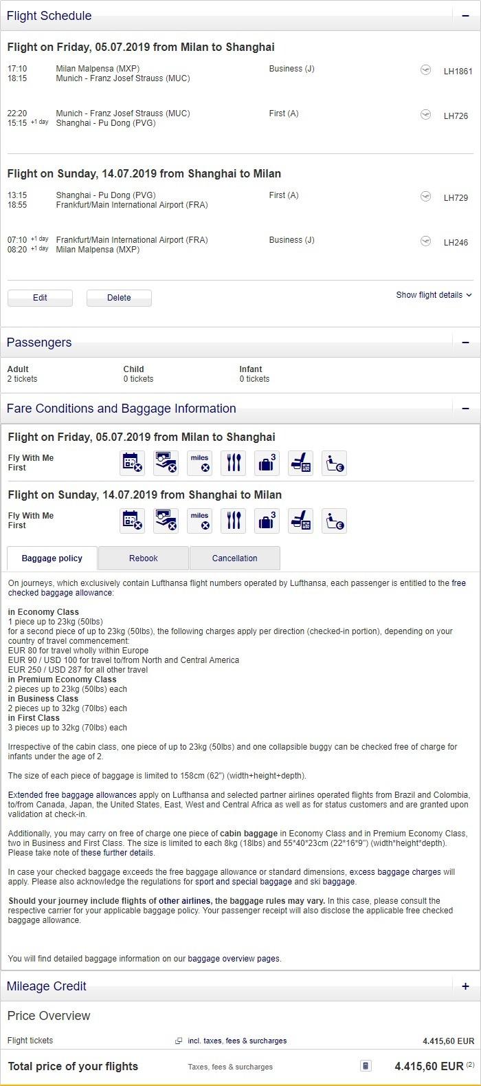 Preisbeispiel Partnerspecial von Mailand nach Shanghai in der Lufthansa First-Class