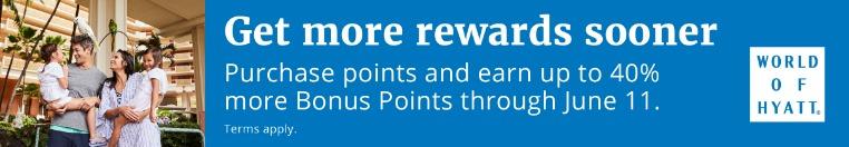 40% Bonus beim Kauf von Word of Hyatt Punkten bis 11.06.2019