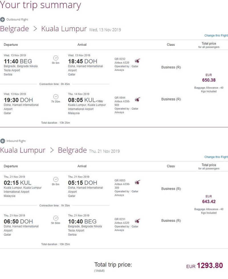 Preisbeispiel von Belgrad nach Kuala Lumpur in der Qatar Airways Business-Clas