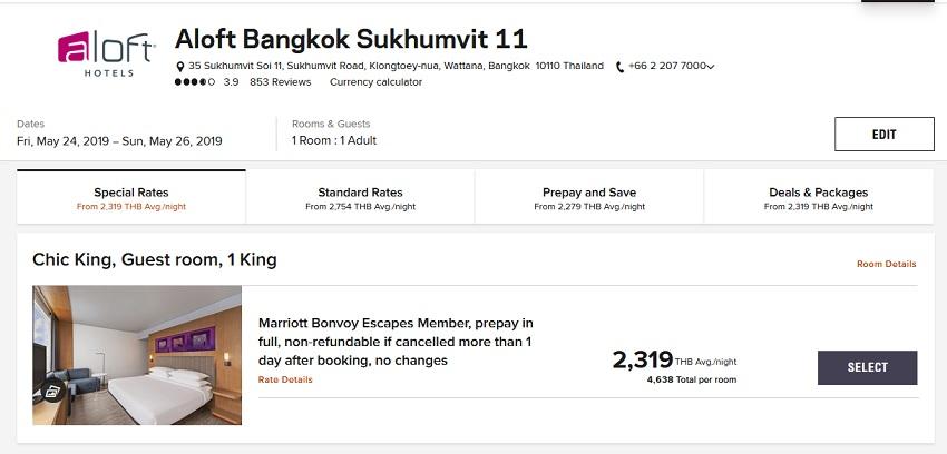 Vergleich Marriott Bonvoy Escapes Raten aloft Bangkok