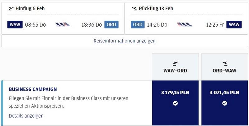 Preisbeispiel von Warschau nach Chicago in der Finnair Business-Class