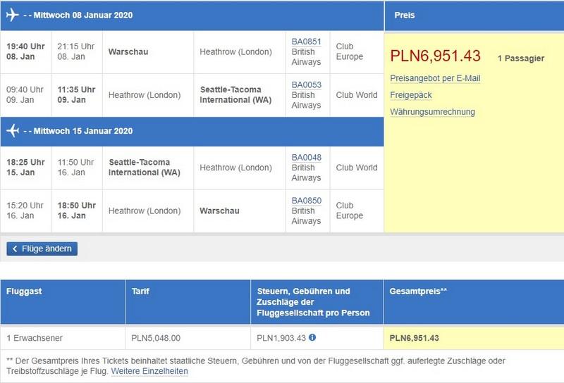 Preisbeispiel von Warschau nach Seattle in der British Airways Business-Class