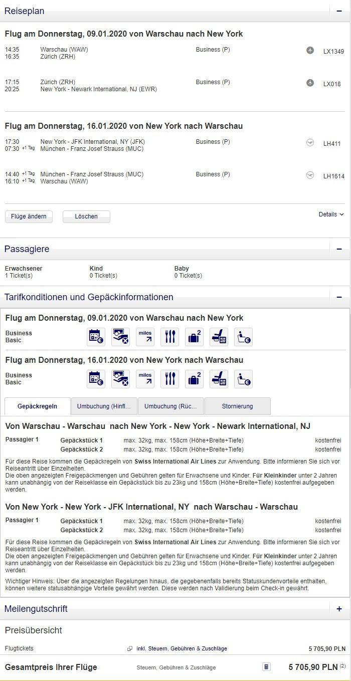Preisbeispiel von Warschau nach New York in der Lufthansa Business-Class