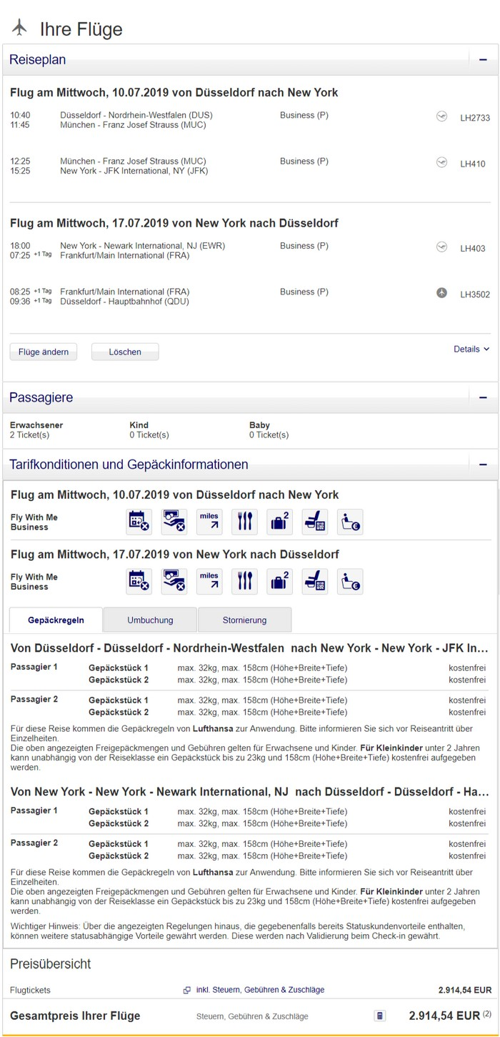 Preisbeispiel Partnerspecial von Düsseldorf nach New York in der Lufthansa Business-Class