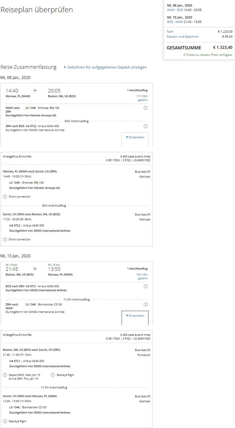 Preisbeispiel von Warschau nach Boston in der Swiss Business-Class (gebucht bei United Airlines)