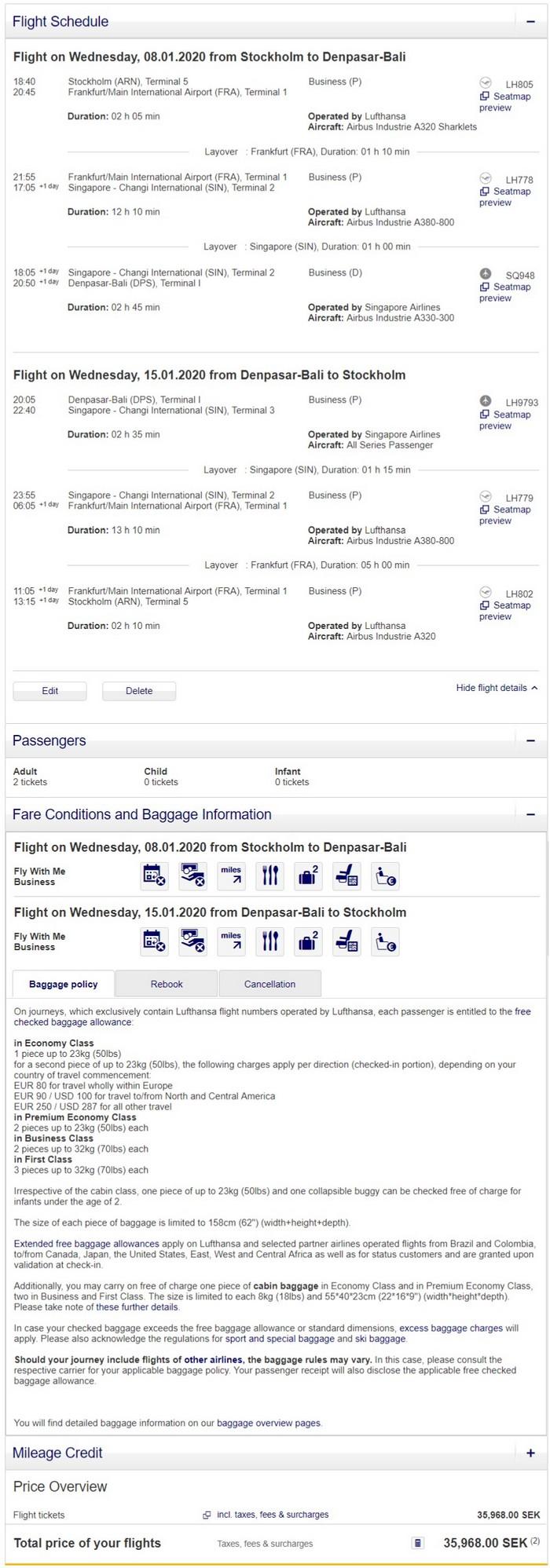Preisbeispiel Partnerspecial von Stockholm nach Bali in der Lufthansa und Singapore Airlines Business-Class