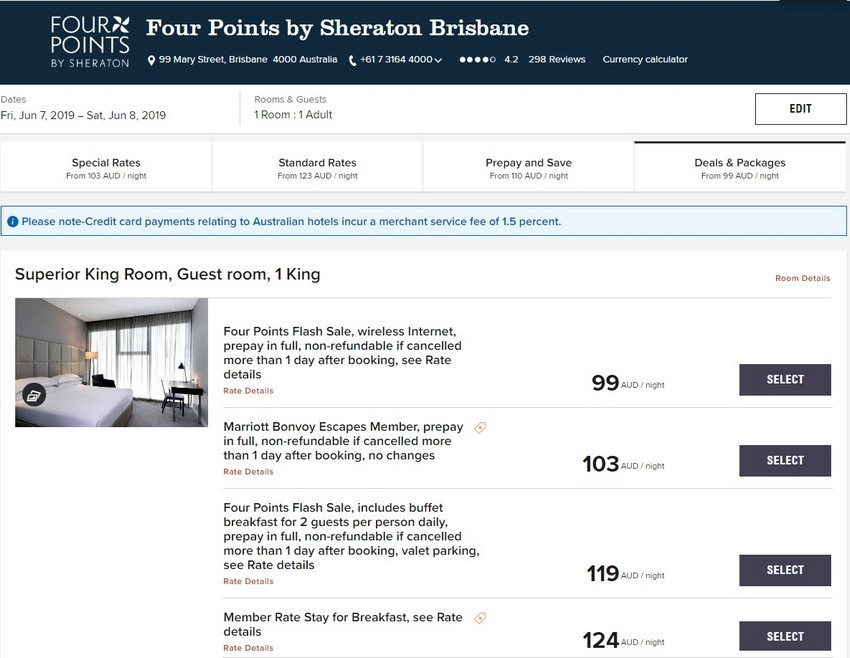 Vergleich Marriott Bonvoy Escapes Raten Four Points Brisbane