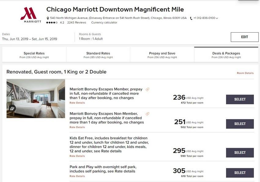 Vergleich Marriott Bonvoy Escapes Raten Chicago Marriott Downtown Magnificent Mile