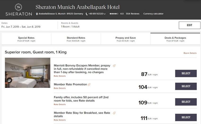 Vergleich Marriott Bonvoy Escapes Raten Sheraton München Arabellapark