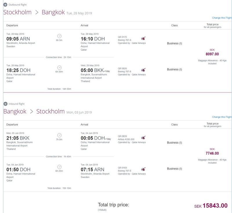 Preisbeispiel von Stockholm nach Bangkok in der Qatar Airways Business-Class