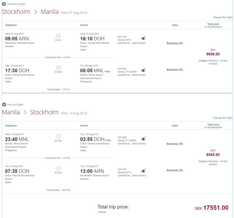 Preisbeispiel von Stockholm nach Manila in der Qatar Airways Business-Class