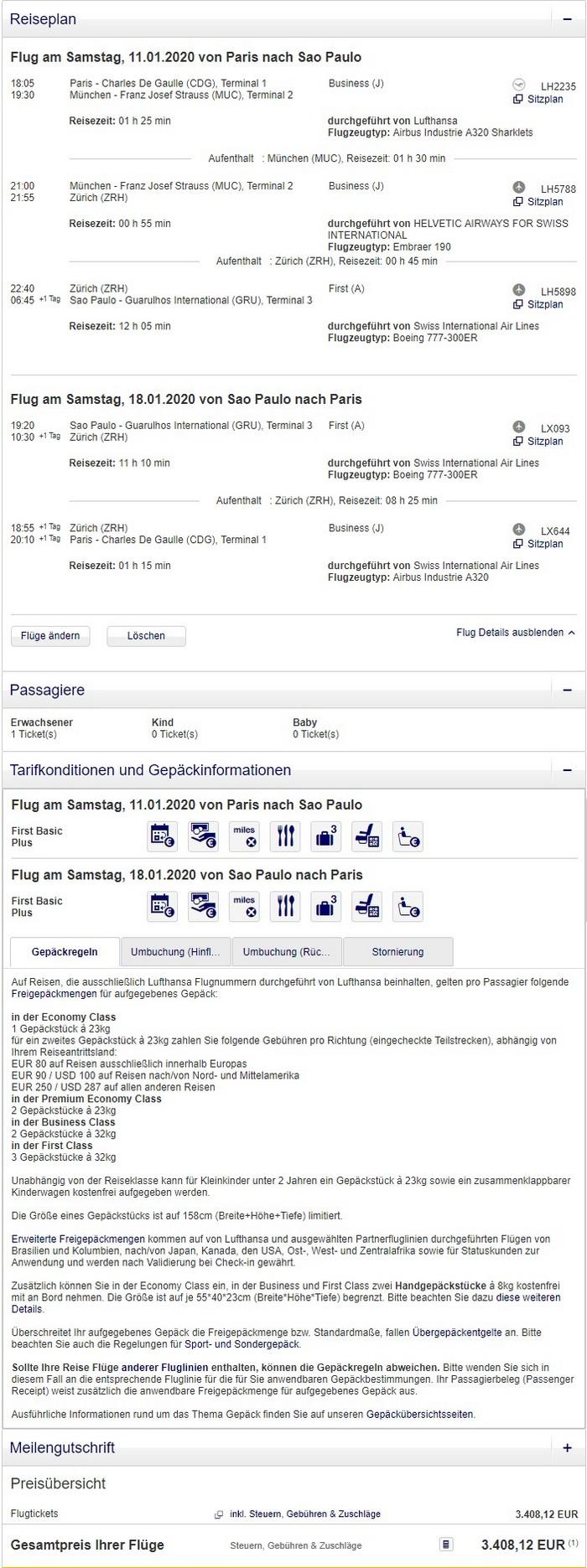 Preisbeispiel von Paris nach Sao Paulo in der Swiss First-Class / Buchung bei Lufthansa