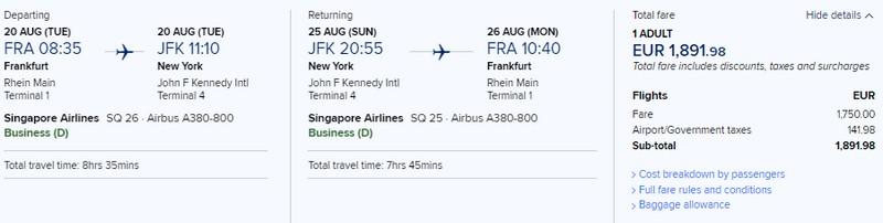 Preisbeispiel von Frankfurt nach New York (JFK) in der Singapore Airlines Business-Class