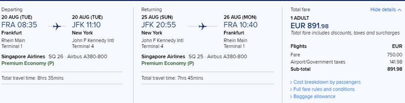 Preisbeispiel von Frankfurt nach New York (JFK) in der Singapore Airlines Premium-Economy-Class
