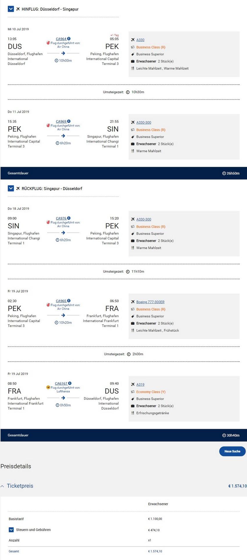 Preisbeispiel von Düsseldorf nach Singapore in der Air China