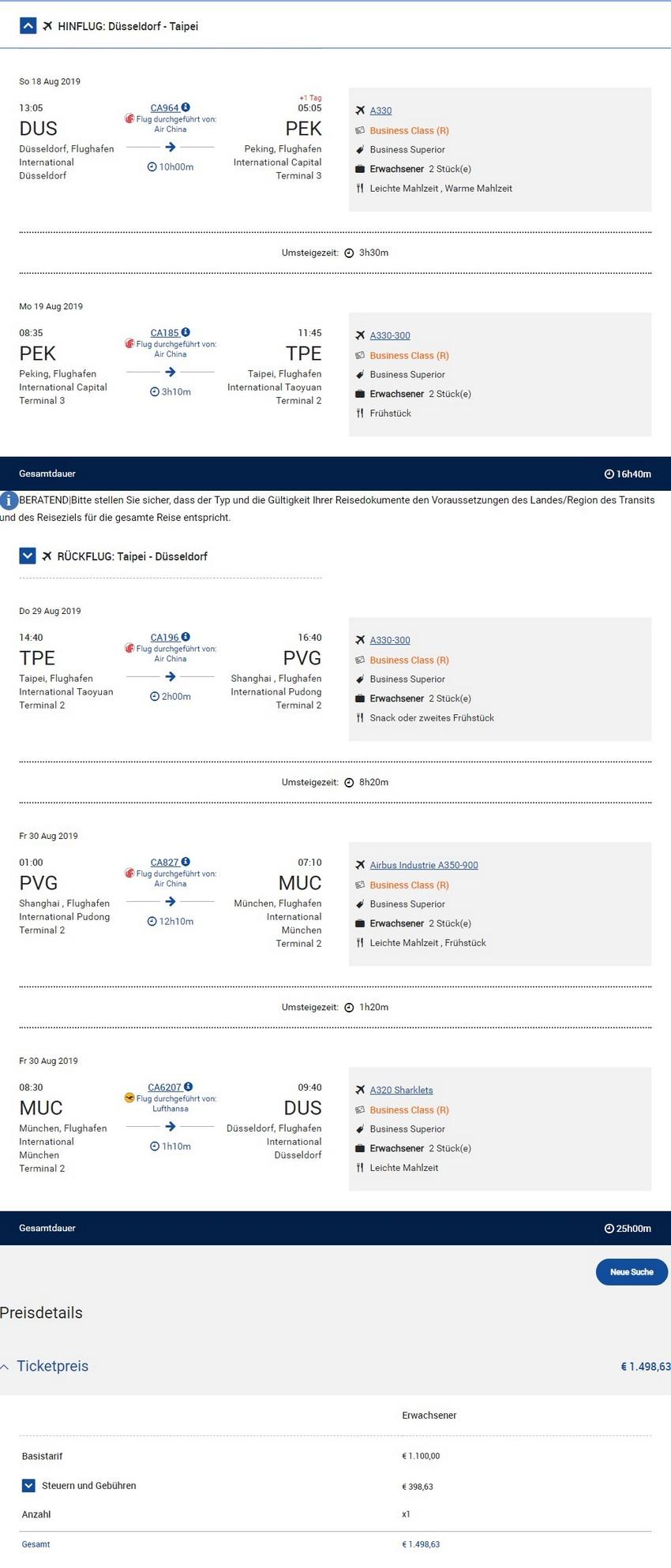 Preisbeispiel von Düsseldorf nach Taipei in der Air China Business-Class