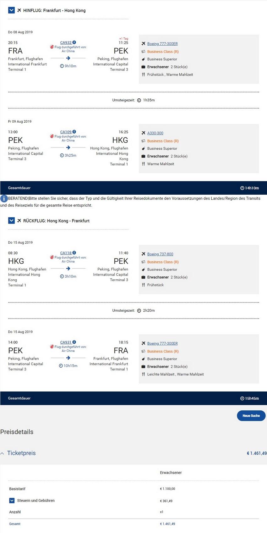 Preisbeispiel von Frankfurt nach Hong Kong in der Air China Business-Class