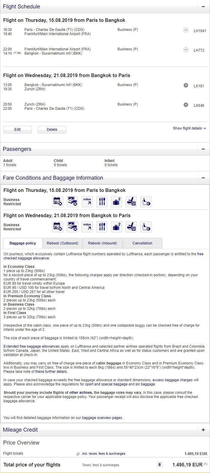 Preisbeispiel von Paris nach Bangkok in der Lufthansa Business-Class