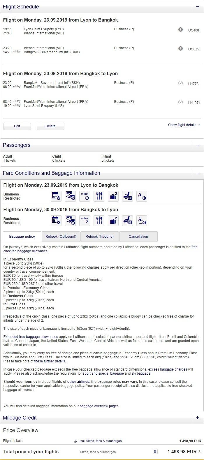 Preisbeispiel von Lyon nach Bangkok in der Lufthansa Business-Class