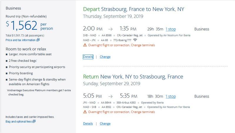 Preisbeispiel von Straßburg nach New York in der American Airlines Business-Class