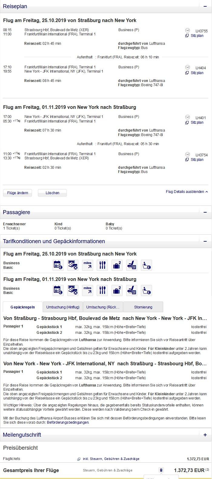 Preisbeispiel von Straßburg nach New York in der Lufthansa Business-Class