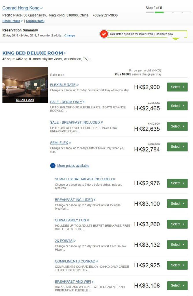 Hilton APAC Summer Sale 2019 Raten im Conrad Hong Kong
