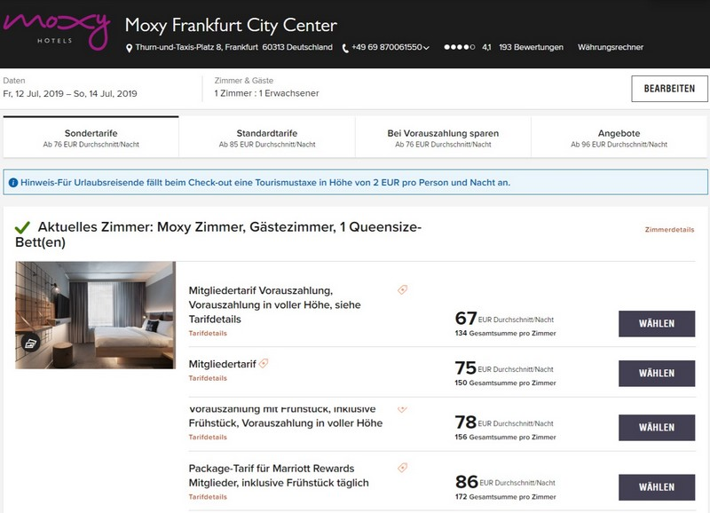 Marriott Bonvoy Sommerangebote 2019 Raten im Moxy Frankfurt City Centre
