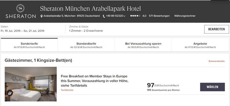 Marriott Bonvoy Sommerangebote 2019 Raten im Sheraton München Arabellepark