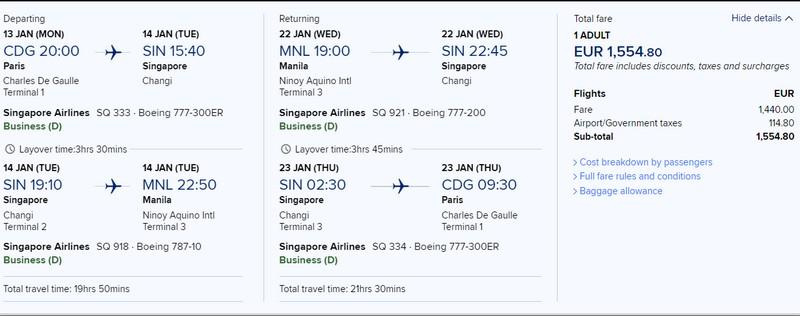 Preisbeispiel von Paris nach Manila in der Singapore Airlines Business-Class