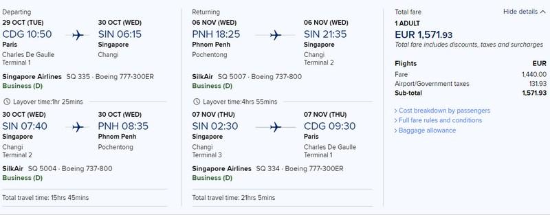 Preisbeispiel von Paris nach Phnom Penh in der Singapore Airlines Business-Class