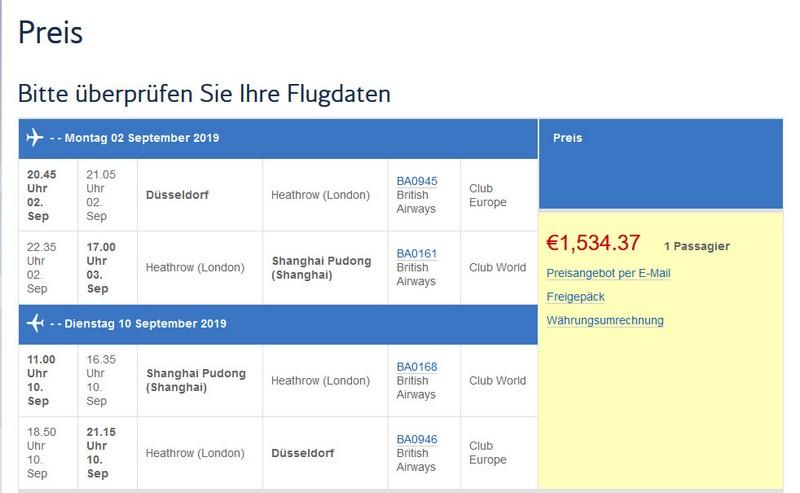 Preisbeispiel von Düssedorf nach Shnaghai in der British Airways Business-Class