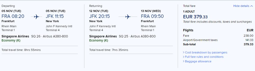 Preisbeispiel von Frankfurt nach New York (JFK) in der Singapore Airlines Economy-Class