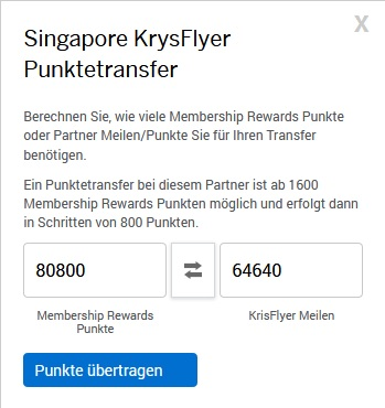Punktetransfer American Express